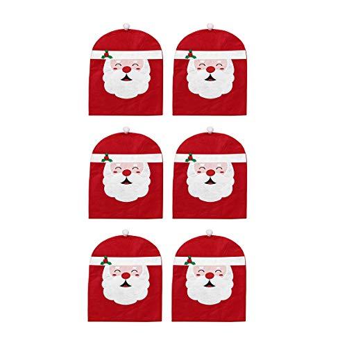 Dreamworldeu Juego de 6 fundas para silla, diseño de gorro de Navidad para Navidad, fiestas, bodas