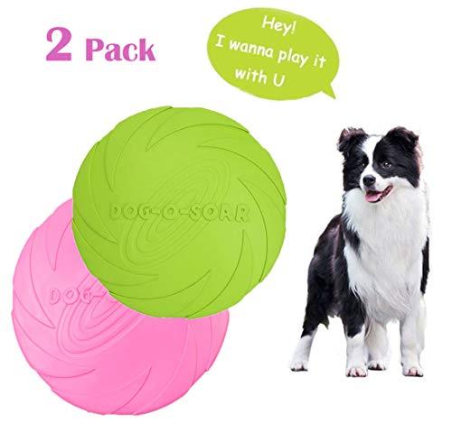 MQIAN Hunde Frisbees,Hundefrisbee,Hund Scheibe, hundespielzeug Frisbee,Gummi Frisbee,für Land und Wasser,Interaktive Outdoor Spielzeug,Werfen, Fangen 2 Stück