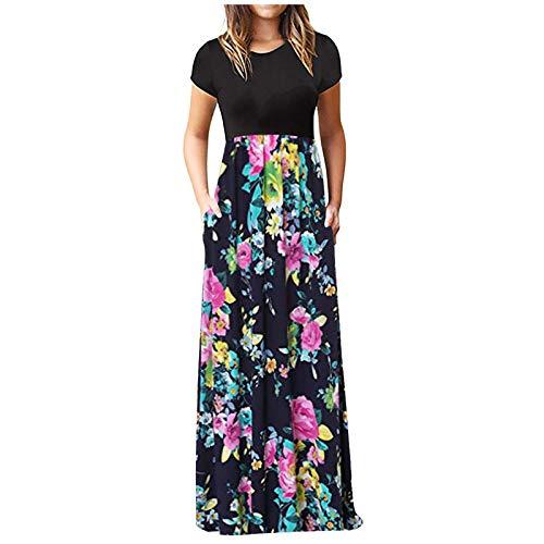 Vestido de Mujer, Largo Verano Playa Fiesta Manga Larga Cuello en V Talla Wrap Maxi Vestidos, Sexy Elegante Impresión de Floral Vestido Largo Damas Casual Falda