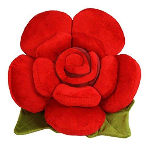 Nunubee Rosenform zierkissen mit Füllung Kinderspielzeug Spielzeug deko Kissen Wohnzimmer Sofa Office Dekorative, Rot 50CM