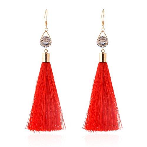 Fossrn Bohemio Mujeres Pendientes Largo de Flecos Borlas precioso Aro Pendientes Joyas (Rojo)