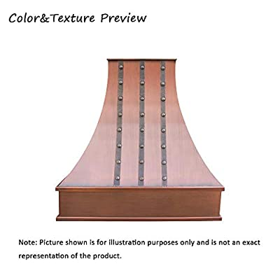 "SINDA Hand-Hammered Copper Vent Hood Comes with SUS304 Professional Range Hood Insert, 36""Wx36""H, Smooth-Antique Copper, Island Mount, H7SBSCI3636"