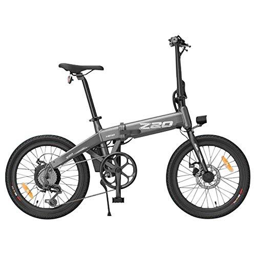 Generic HIMO Z20 - Bicicleta eléctrica plegable de 20 pulgadas, 250 W, con pedal, velocidad máxima de 25 km/h, batería intercambiable, con engranaje de 6 velocidades, doble freno (gris)