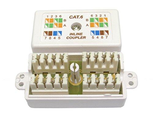 rhinocables CAT6 Verbindungsmodul - Netzwerkkabel Verlängerung/Connection Box für Verlegekabel/LSA Verbinder für CAT5 CAT6 CAT6A Ethernet LAN Kabel (CAT6 Weiss)