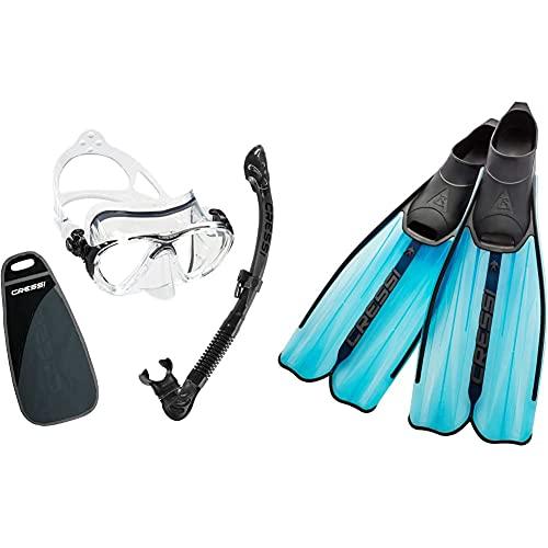 Cressi Big Eyes Evolution & Kappa Ultra Dry Schnorchel Pack De Snorkel (Tubo Y Gafas), Color Negro + Rondinella Aletas De Gama Alta para Iniciación Y Snorkeling