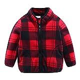 Mud Kingdom Toddler Boys Fleece Jacket Cute Plaid Red Zip Up 2T