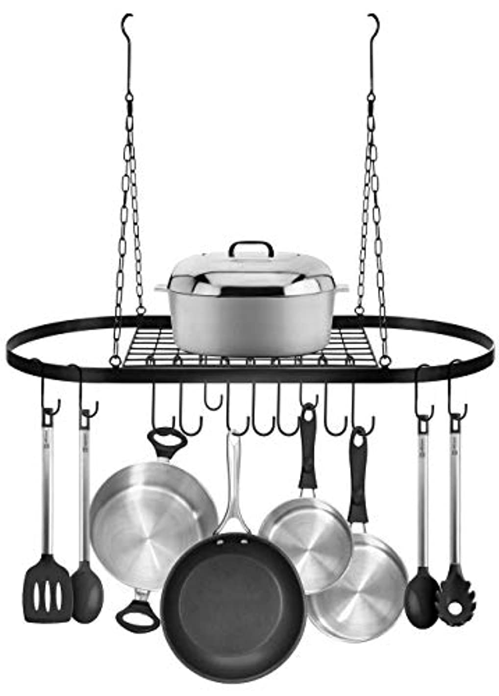 US Fast Shipment Quaanti Pot and Pan Rack for Ceiling with 10 Hooks,Decorative Oval Mounted Storage Rack Hanger,Multi-Purpose Organizer for Home,Restaurant,Kitchen Cookware,Utensils,Books (Black)