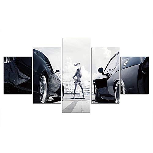 Autos poster canvas schilderkunst muurkunst schilderijen frame decor 5 stuks muurschildering achtergrond 30x40cmx2 30x60cmx2 30x80cmx1 Gekaderd