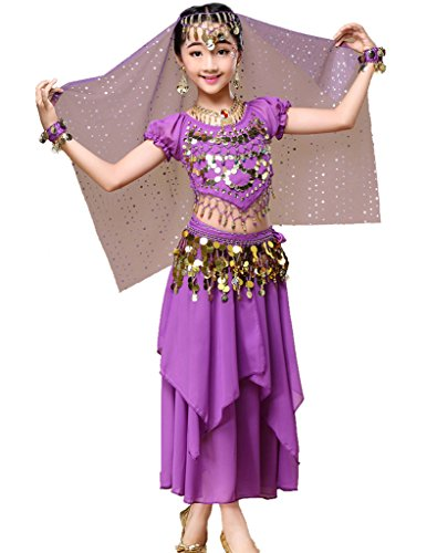 Astage Mädchen Kleid Bauchtanz Indianisch Halloween Karneval Kostüme L Violett