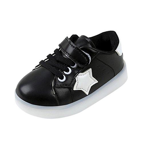 Ouneed® Krabbel Schuhe, Star Sneaker LED Luminous Bling Child Toddler Casual Light Shoes (30, Schwarz)