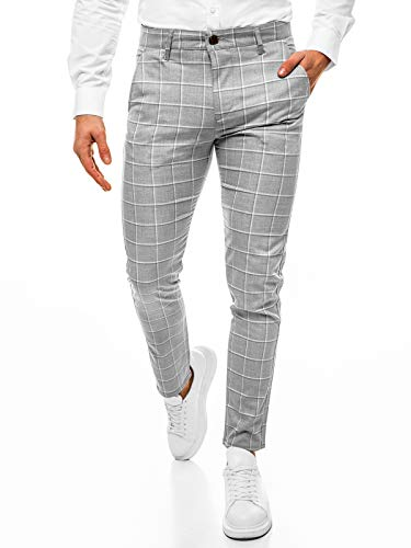 MOODOZ Herren Chino Hose Chinos Stoffhose Chinohose Anzughose Anzug Herrenhose Röhrenhose Pants Elegant Business Slim Fit Regular Klassisch Classic Basic DJ/05522 GRAU W32