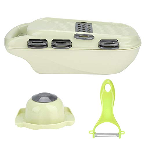 Food Cutter Slicer and Shredder Vegetable Grater Peeler with 7 Blades Potato Cucumber Carrot Grater Food Container All in ONE Slicer Household Kitchen Tool(Green)