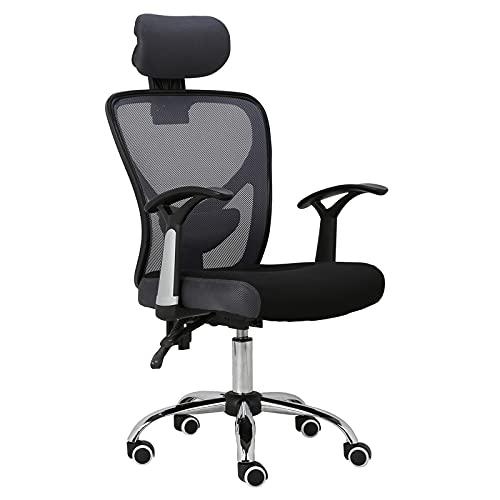 HOMEFUN Ergonomic Mesh Office Chair, Adjustable Computer Desk Chair with Headrest Comfortable Backrest Task Chair Swivel Rolling Chair, Grey