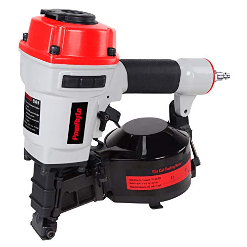 PowRyte Works 11 Gauge Air Coil Roofing Nailer, Roofing Nail Gun - 3/4-Inch to 1-3/4-Inch