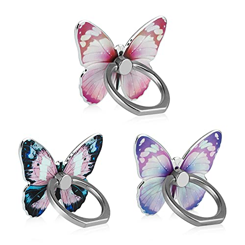 LSL Cute Butterfly Cell Phone Ring Holder 360°Rotation Metal Finger Stand Kickstand Universal Compatible with iPhone Samsung Galaxy LG Google Pixel iPad Three Pack Pink Blue Purple Pretty Butterfly