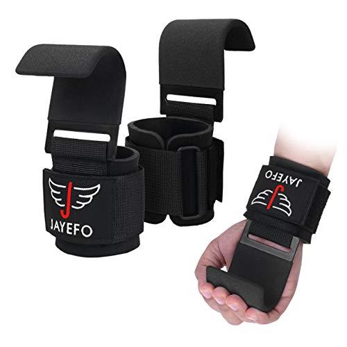 Jayefo Power Weight Lifting Training Wrist Support Hook BAR Straps Fitness Bars- Pair