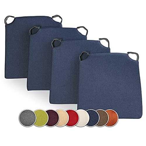 sunnypillow 4er Set Stuhlkissen mit Klettverschluss Polsterauflage Auflage für Stühle   Indoor/Outdoor   Sitzkissen Sitzauflage   Maße: 42 (vorne)   35 (hinten) x 40 x 5 cm   Blau  