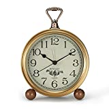 CREULT Silent Alarm Clocks Bedside Non Ticking Retro Vintage Clock For Seniors, Simple Type Easy To Use Battery Operated Table Clocks for Bedroom