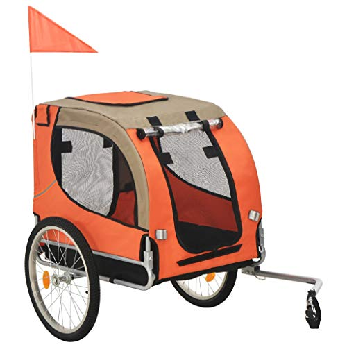 YCDTMY Foldable Dog Bike Trailer with Rain Cover Orange and Brown Water Resistant Dog Trailer