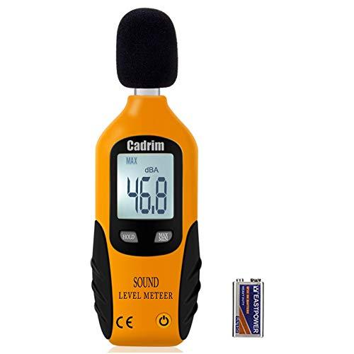 Cadrim Decibel Meter - Digital Sound Level Meter, Self-Calibration Decibel Reader, Noise Meter with LCD Display Measurement Range 40-130 dB spl Meter (Battery Included)
