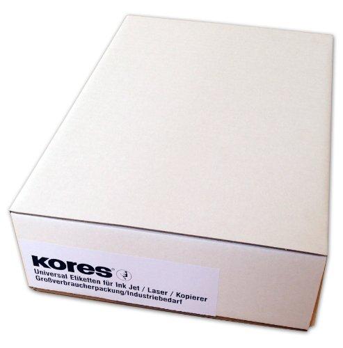Kores Universal-Etiketten, 70 x 37 mm Großpackung, 500 Blatt, weiß