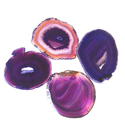 JIC Gem 3-3.5'' Purple Dyed Agate Coasters Sliced Small Size Brazilian Natural Geode Polished with Rubber Bumpers Home Decoration Set of 4