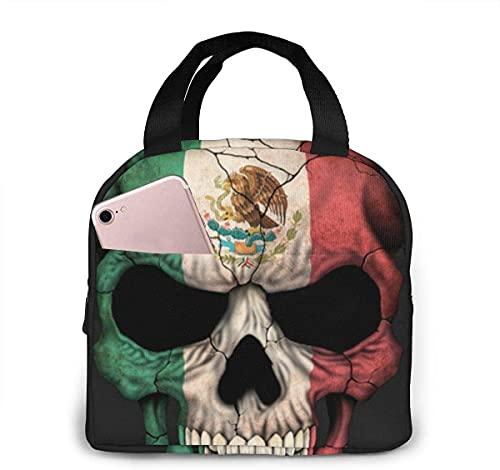 Bolsa de almuerzo con aislamiento de calavera con bandera mexicana y bolsillo frontal para mujer, hombre, trabajo, picnic o viaje