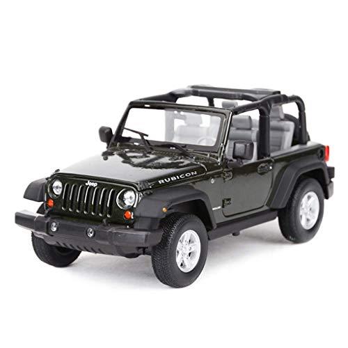 Coche modelo del coche 1: 24JEEP Wrangler Robin Hood-o-terreno Simulación de aleación de fundición a presión de joyería juguete adornos Colección del coche de deportes verde oscuro 17.5x8x7.5CM LOLDF1
