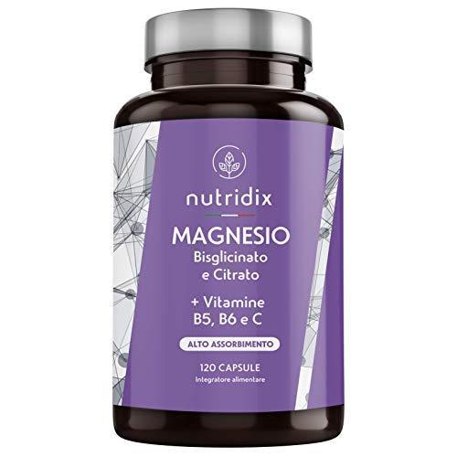 Magnesio con Vitamine B5, B6 e C | 120 Capsule Gastroresistenti da 715 mg de Bisglicinato e Citrato di Magnesio | Alta Biodisponibilità | Prodotto da Nutridix