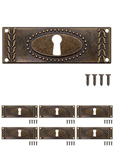FUXXER® - 6 placas de llave antiguas, rosetas de cerradura, herrajes para cerradura, agujero para llave, latón vintage, bronce, estilo modernista, diseño Art Deco, 6 unidades, 24 x 73 mm.