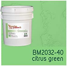FirmoLux Grassello Authentic Venetian Plaster   Polished Plaster   Made in Italy from Lime, Marble & Other Natural Aggregates   Light Colors (26)   Color: BM2032-40 Citrus Green