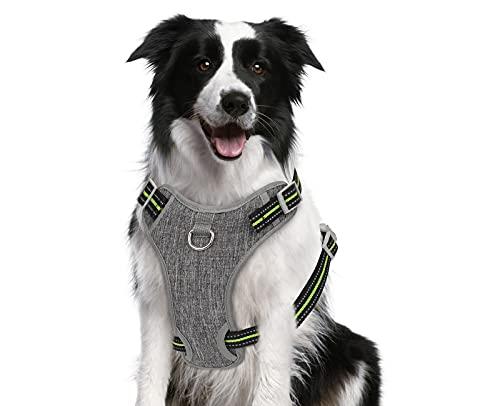 Pecute Arnés para Perros, Arnes para Mascotas Sin Tirón con 2 Clips para la Correa, Chaleco Acolchado Suave Ajustable para Perros, Chaleco Oxford Reflectante para Mascotas 🔥