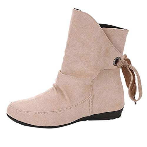 Julywe Stiefeletten Damen Stiefel Vintage Boots Flandell Schuhe Stiefeletten mit Blockabsatz...
