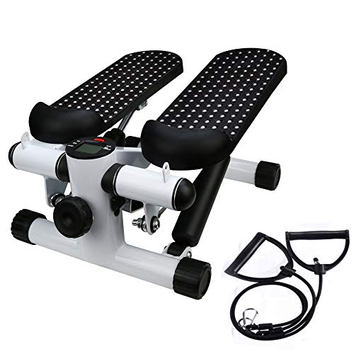Iuhan US in Stock Health Fitness Mini Stepper with Band, Household Gym Hydraulic Mute Stepper Multi-Function Pedal Indoor Sports Stepper Legs