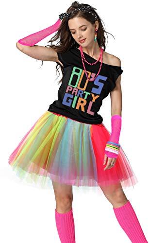 80er Jahre Party Damen Retro Kostüm Accessoires Outfit Kleid für 1980er Jahre Mottoparty Zubehör - mehrfarbig - Small / Medium