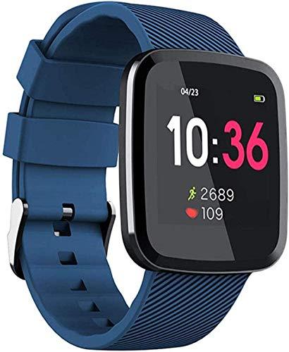 Reloj inteligente para mujer y hombre, pulsera de actividad impermeable, contador de calorías, recordatorio de llamadas, color azul