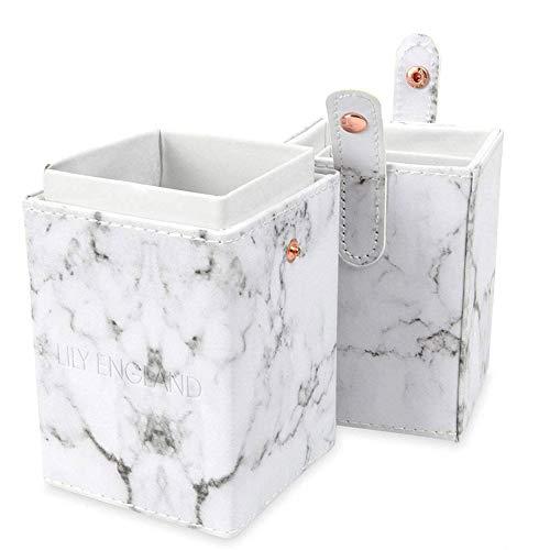 Lily England Make Up Pinsel Aufbewahrung, Pinselbehälter & Kosmetik Pinselhalter inluxuriöser Marmor Optik– Reise Pinselbox & Brush Aufbewahrungsbox