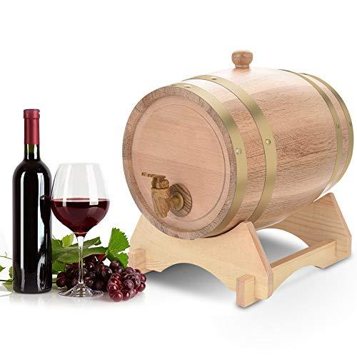 Barril de Roble, Barril de Madera de Roble Roble Vintage Dispensador con Soporte de Madera para Almacenamiento de Buen Vino, Brandy, Whisky, Tequila (5L)