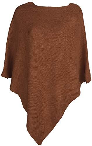 styleBREAKER Damen Feinstrick Poncho einfarbig, Ärmellos, Rundhals, Cape, Überwurf, Strickponcho, Einheitsgröße 08010078, Farbe:Cognac