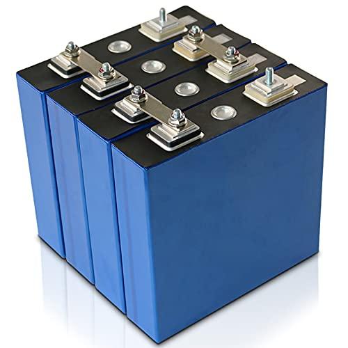 Batería de grado automotriz de grado estándar, 3.2V 100Ah LiFePO4 Batería Células de fosfato de hierro y litio, Batería de ciclos profundos Baterías, para automóvil Moto Solar EV RV,4pcs,100Ah/3.2v