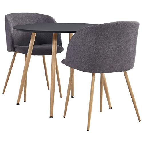 vidaXL Essgruppe 3-TLG. Esszimmergruppe Esszimmergarnitur Tischset Küchentisch Sitzgruppe Esstisch Esszimmertisch mit 2 Stühlen Stoff Taupe