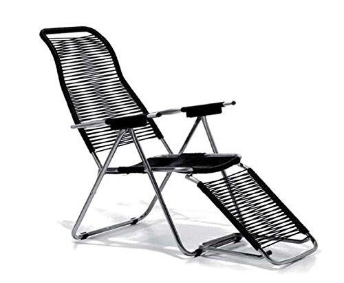 Jan Kurtz, Spaghetti Chair Sonnen Liegestuhl mit Fußteil fiam schwarz