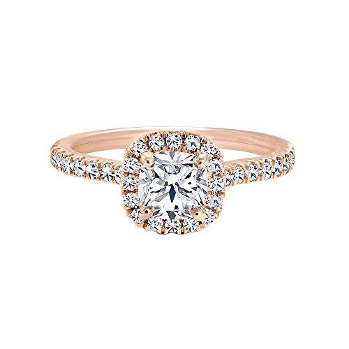 Triostar Women's 1.30 Ct Cushion & Round Diamond 14K Rose Gold Plated Halo Engagement Ring