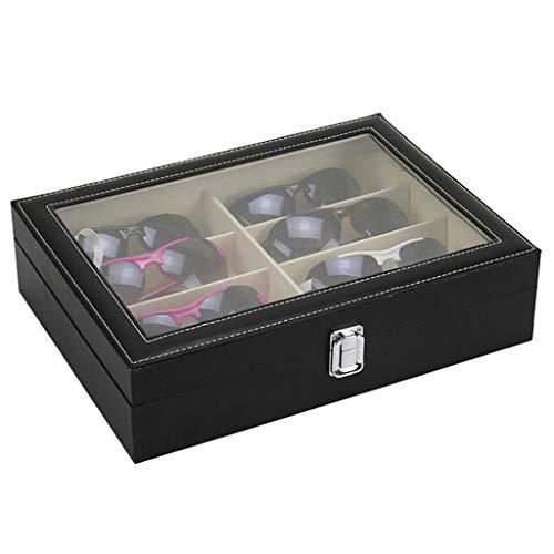 SHYPT 1 PC 8 Ranura PU de Madera Cuero Negro Gafas de Gafas Sunglass Caja de Almacenamiento Organizador Colector Caja de visualización