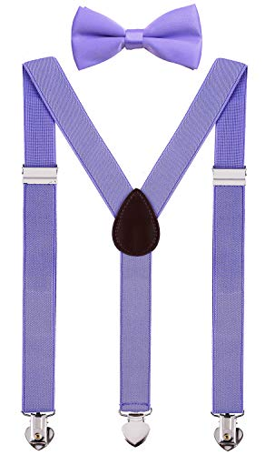 WDSKY Mens Suspenders and Bow Tie Set for Wedding with Heart Clips 47 Inches Lavender