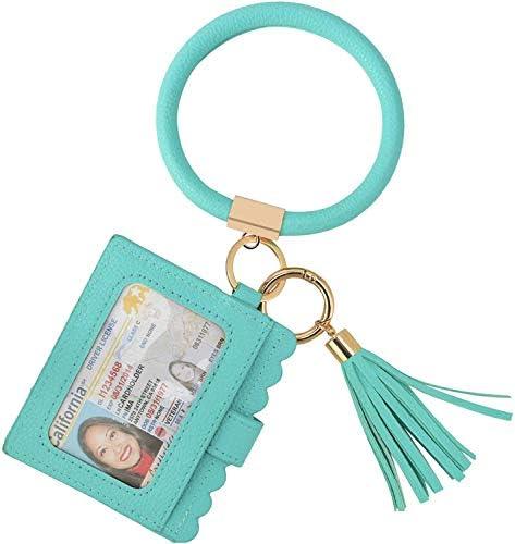 Coolcos Large Circle Bangle Keychain Wallet Upgraded ID Card Holder Keyring Wristlet Bracelet product image