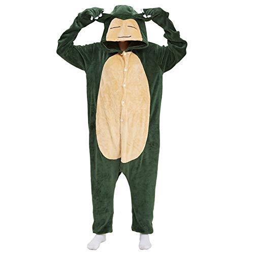 Tier Pyjama Onesies Cartoon mit Kapuze Kostüm Onesie Erwachsene Kinder Sleepwear Cosplay Karneval Fasching Home Niedliche Strampler Hausanzug Warm Komfortable Outfit Nachtwäsche Grüne Kabi