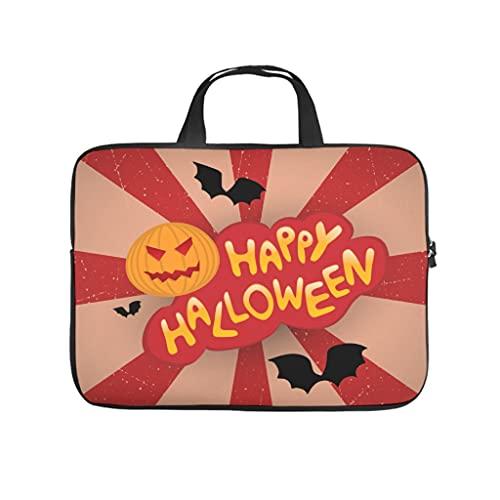 Facbalaign Funda para portátil con diseño de murciélago, para Halloween, duradera, de alta calidad, con asa, Blanco, 12 pulgadas,
