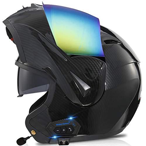 STRTG Casco Modular Motocicleta Sistema comunicación por intercomunicador Integrado MP3 Integrado con Bluetooth y Auriculares Dos Altavoces, Cascos abatibles Doble Visera aprobados Dot F,M