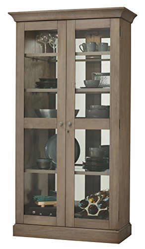 Howard Miller Allison Display Cabinet 543-001 - Lightly Distressed Aged Grey Glass Curio Shelf Case with No Reach Roller Light & Locking Front Doors